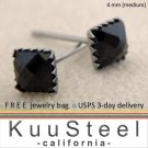 Mens Black Diamond Earrings 4x4mm- Square Steel Stud Earrings for Men- Black CZ Diamond (#426)