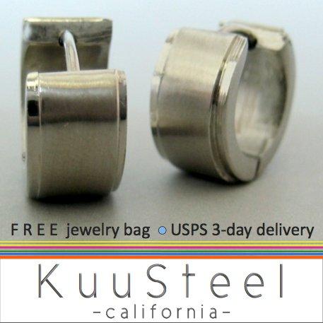 Men's stainless steel wide hoop earrings, EC172