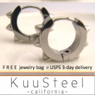 Mens Earrings Silver Hoop - Rocker Jewelry For Guys – Medium with 6 Spikes (#157)