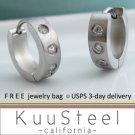 Mens Diamond Earrings Silver Hoop - Stainless Steel Earrings for Guys – Medium CZ Diamonds (#156)