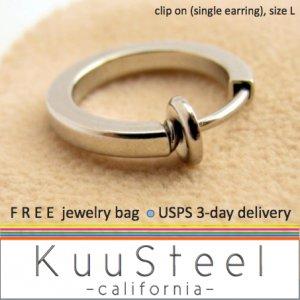 Mens Clip On Earring Silver Hoop � Steel Earrings For Guys � Size L Single (#571)