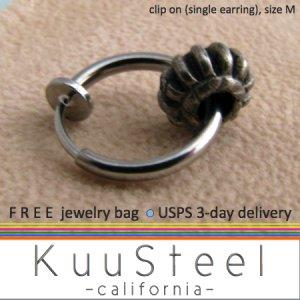 Clip on earring with gear accent, men's hoop earrings, EC576