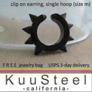 Men's clip on earrings, non piercing black steel thorn hoop earring, EC579