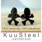 Mens Earrings Black Stud - Earrings For Guys– Skull Black (#516)