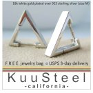Medium white gold triangle men's hoop earrings handmade from silver E233SW