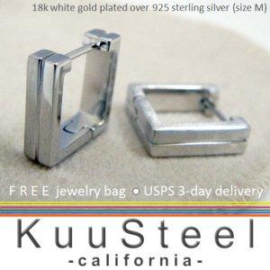 Square hoop men's earrings handmade from sterling silver E211MW