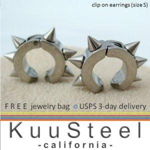 Clip on earrings in stainless steel, silver thorn non piercing earring, 579B