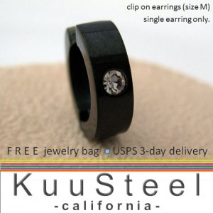 Men's clip on earring with diamond cz accent stone, black stainless steel fake earring, 579C