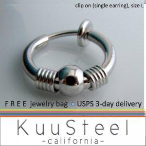 Clip on hoop earring for men, non piercing hoop earring, EC575