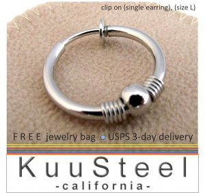 Men's large clip on earrings with coil and sphere accent, silver metal non piercing earring 575A