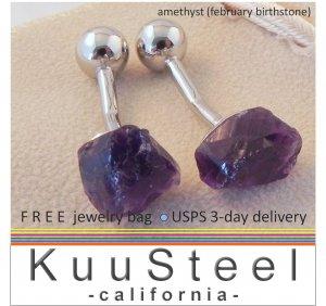 Amethyst gemstone cufflinks, February birthstone cufflinks, 430PA