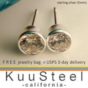 Fake diamond studs for men, diamond cz stone set in sterling silver, EC 434B