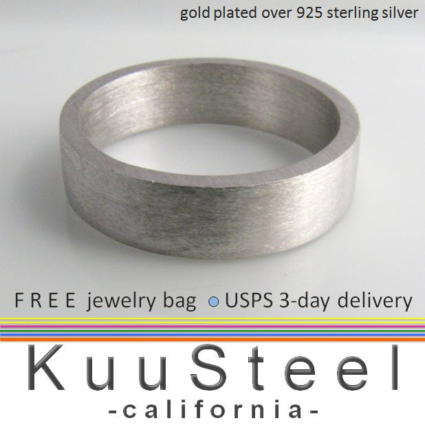 Men's sterling silver wedding band, 6mm wide silver brushed ring, matte finish
