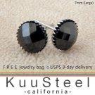 Mens Black Diamond Earrings 7mm-Steel Stud Earrings for Men- Black CZ Diamond (#423)