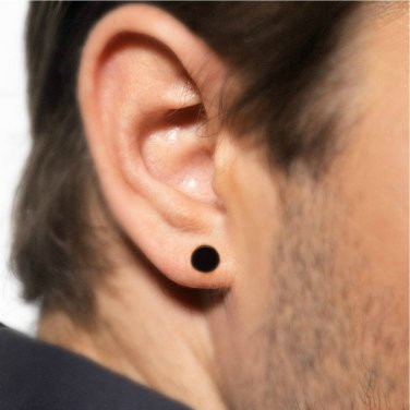 Men's flat disc stud earrings, black stainless steel, 420AA
