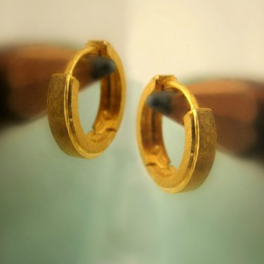 Mens earrings in 14K yellow gold, solid gold huggie hoop earrings, E002MY