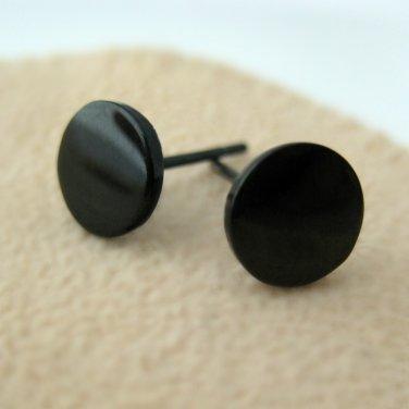 Fake plug earrings for men, flat disc stud earrings 8mm,420L