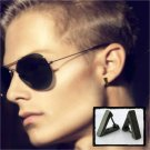Mens hoop earring in black gold, triangle hoop earring for cartilage piercings, ECE230MB