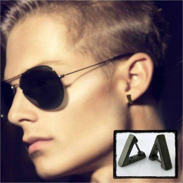 ca414c67e Men's earrings in triangle hoops, cartilage piercing earrings, S, black,  ECE230MB