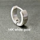 Mens earring, solid white gold huggie hoop earring, 14K single earring, E001 MWSG