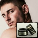 Men's hoop earrings, black stainless steel with silver stripes, M, black, EC176