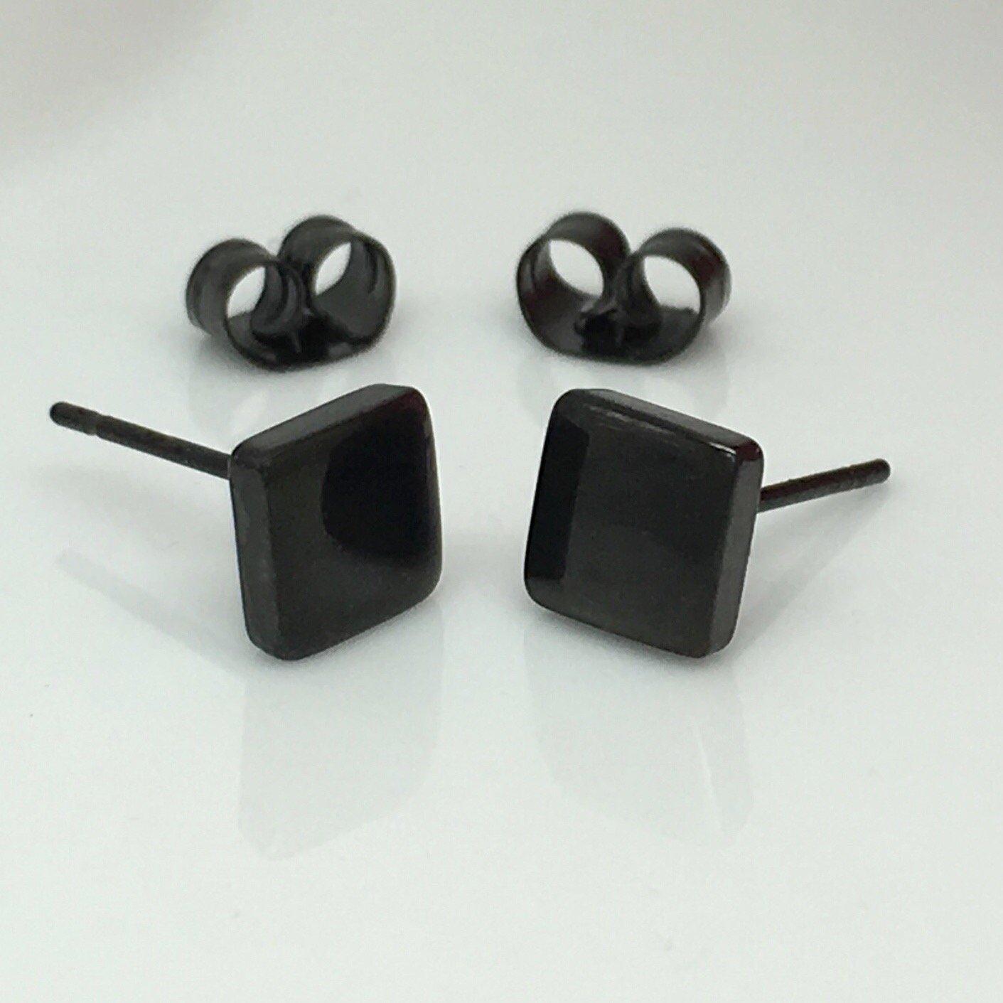 Men S Stud Earrings Black Square Stainless Steel Stud