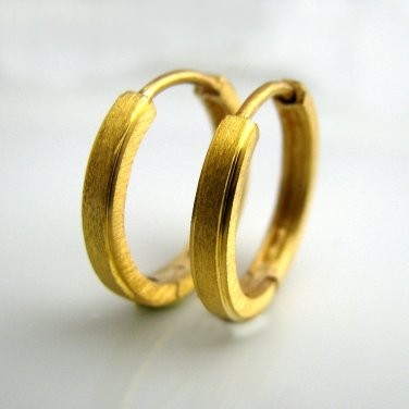 db0751998fdb06 Men's large gold hoop earrings, matte with carved edges, L, gold, E004MY
