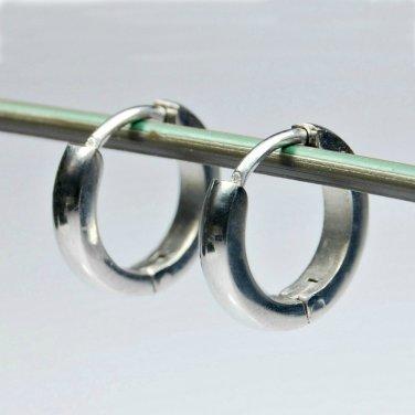 Men's huggie hoop steel earrings, 134A