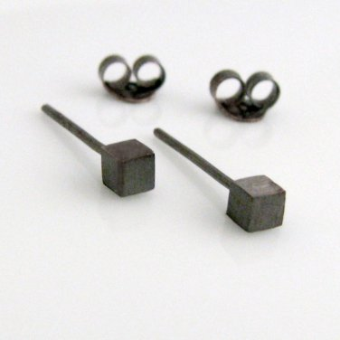Mens stud earrings in square cubes handmade from sterling silver, 465A