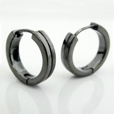 Mens earrings, dark grey duo hoop earrings,  E191MB