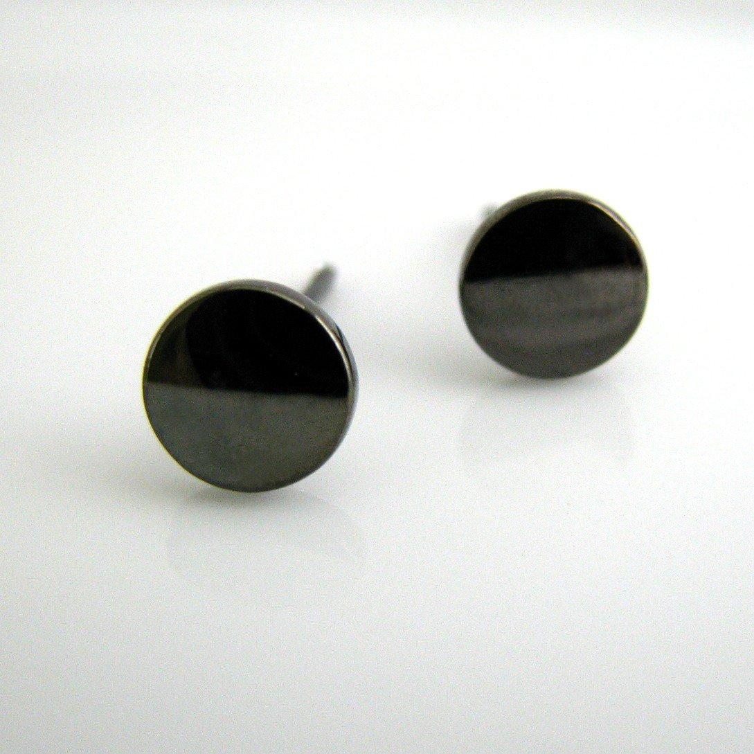 Men's stud earrings, round disc stud earrings , 7mm polished grey,  EC420 7SB