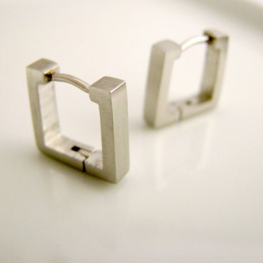 Mens square hoop earrings in medium made from high quality stainless steel, 210
