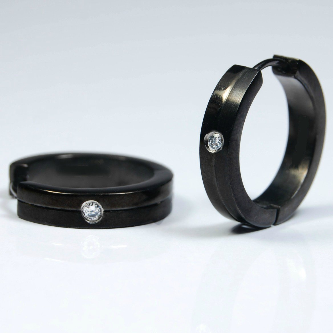 Men's hoop earrings, extra large black stainless steel hoops with cz diamond accent, EC194A