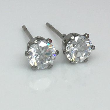 Men's diamond cz stud earrings, EC514