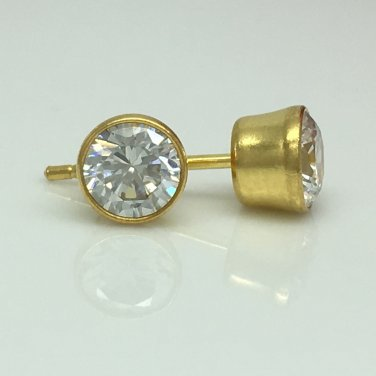 Mens gold plated round cz sterling silver stud earrings, EC434C