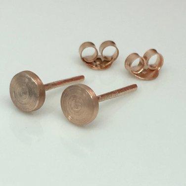 Men's stud earrings in rose gold plating, rustic nail 5mm disc stud earrings, EC4205MR