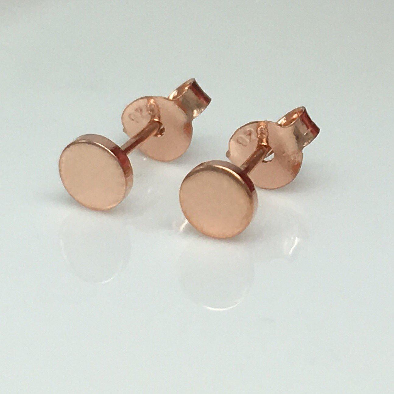 Men's stud earrings, 5mm cartilage stud earring, rose gold, EC4204SY