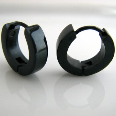 Guys Earrings Black Hoop Stainless Steel Huggie Ec154a