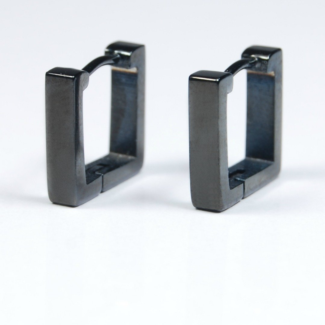 Square hoop earrings in black, mens earrings, stainless steel earrings, EC211