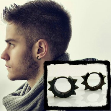 Spike Hoop Earrings For Men â Black Mens Huggie Male