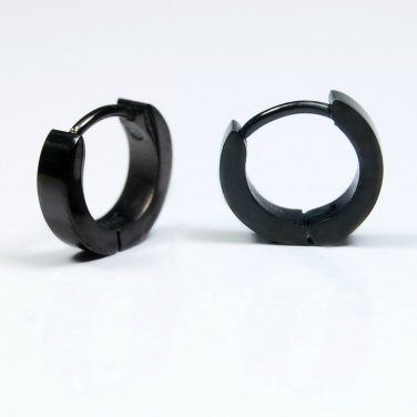 Small hoop earrings for men, black huggie hoops, helix rook daith piercing EC101N