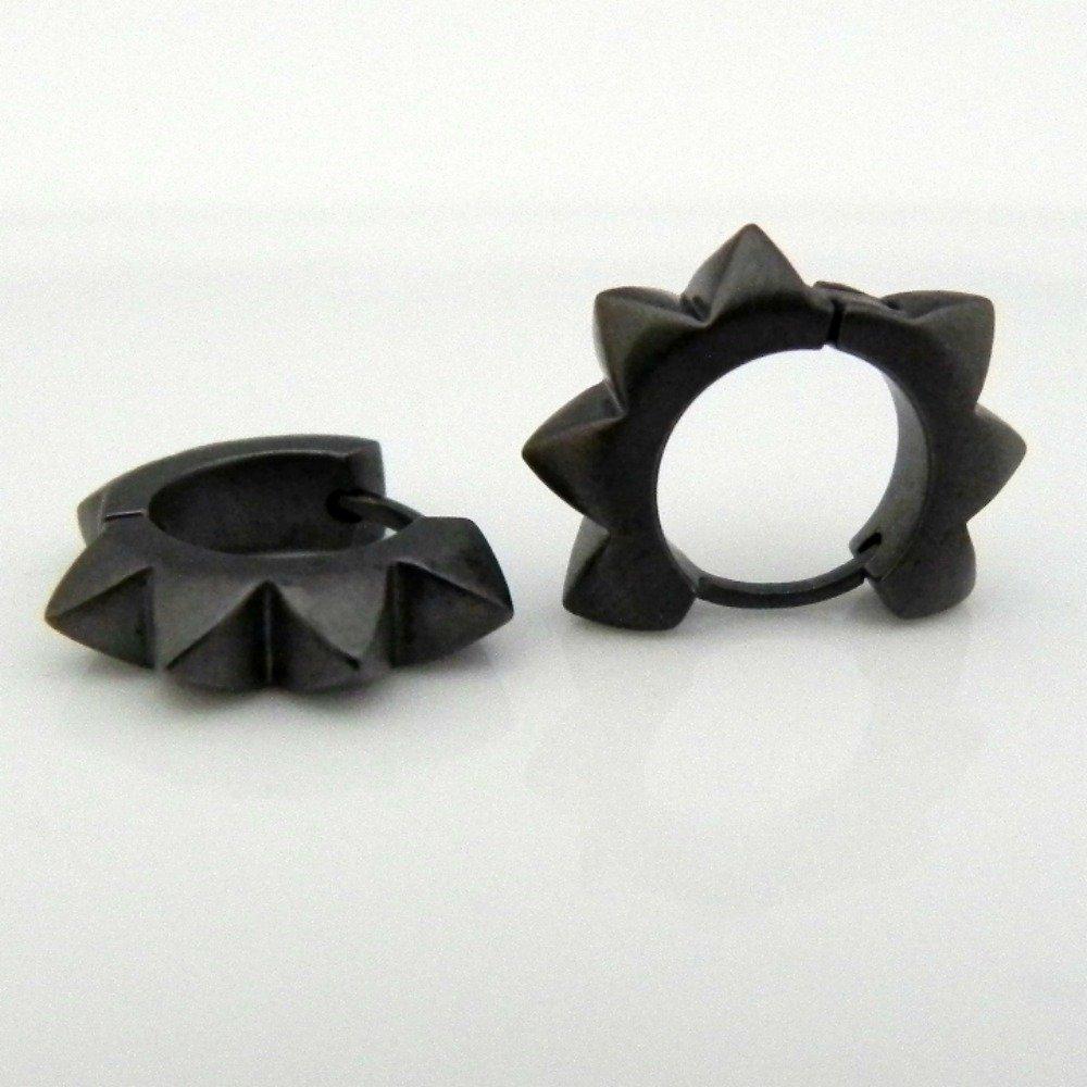 Black spike earrings for men, rocker huggie hoop earrings for guys, EC153MB