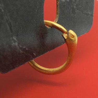 Ouroboros snake hoop earring, 14 gauge gold hoop earring, cartilage earrings