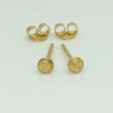 Mens earrings, tiny gold disc stud earrings with a matte yellow gold finish, 420 3MY