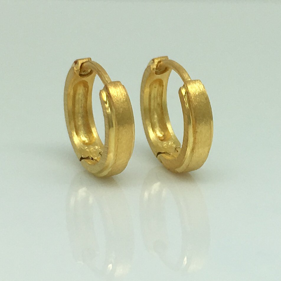Men's gold hoop earrings, solid 14K gold hoop earrings, yellow gold hoops, ECE002MY