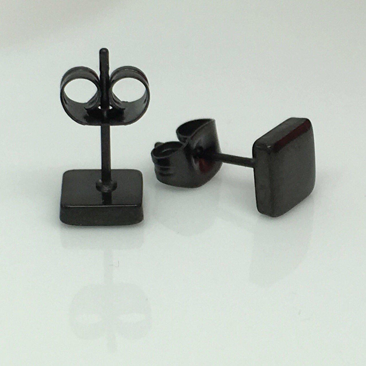 Men's stud earrings, black steel, flat square stud earrings EC420F
