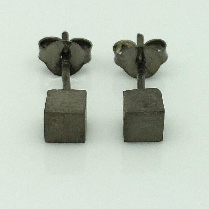 Men's stud earrings, black gold square cube stud earrings, EC465F