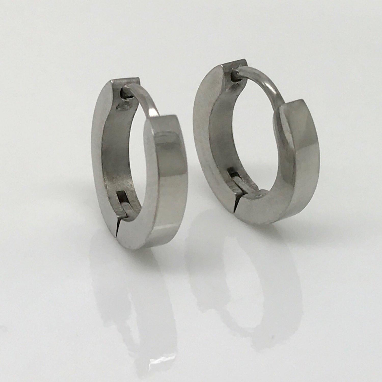 Men's stainless steel hoop earrings, medium huggie hoop earrings EC130