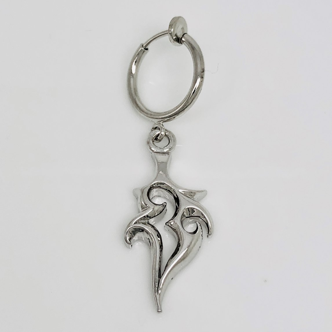 Men's clip on hoop earring with flame, medium, EC574