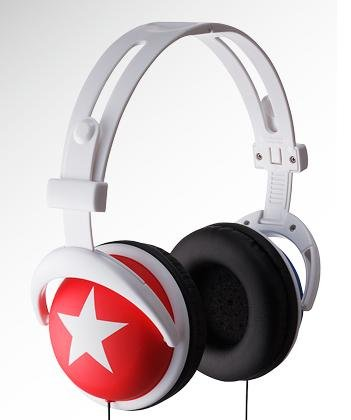 Red headphone with white star
